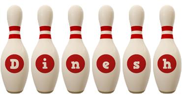 Dinesh bowling-pin logo