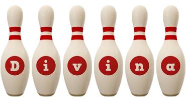 Divina bowling-pin logo