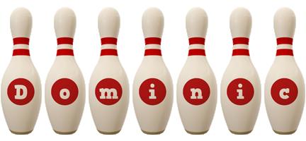 Dominic bowling-pin logo