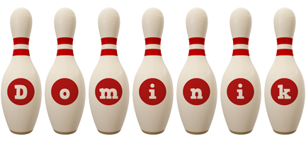 Dominik bowling-pin logo