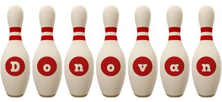 Donovan bowling-pin logo