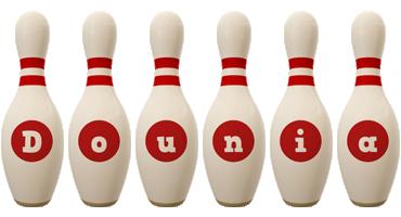 Dounia bowling-pin logo