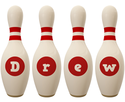 Drew bowling-pin logo