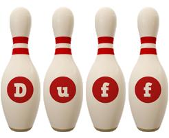 Duff bowling-pin logo