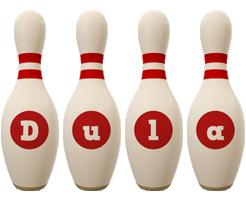 Dula bowling-pin logo