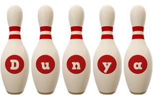 Dunya bowling-pin logo