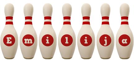 Emilija bowling-pin logo