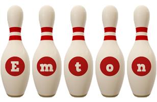Emton bowling-pin logo