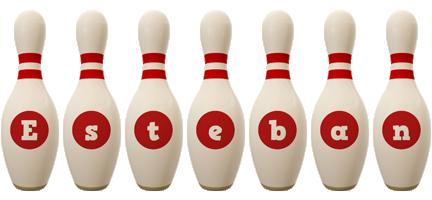 Esteban bowling-pin logo