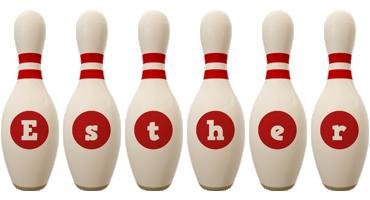 Esther bowling-pin logo