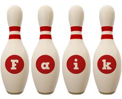 Faik bowling-pin logo