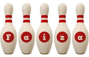 Faiza bowling-pin logo