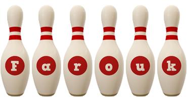 Farouk bowling-pin logo