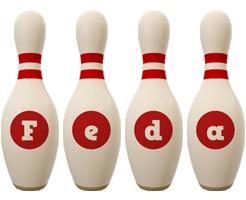 Feda bowling-pin logo