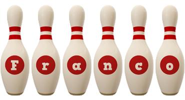 Franco bowling-pin logo