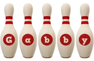 Gabby bowling-pin logo
