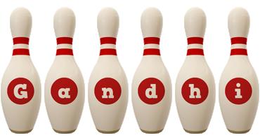 Gandhi bowling-pin logo