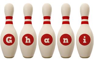 Ghani bowling-pin logo