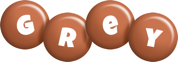 Grey candy-brown logo