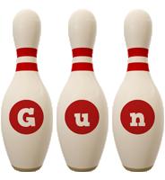 Gun bowling-pin logo