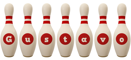 Gustavo bowling-pin logo