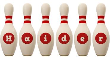 Haider bowling-pin logo