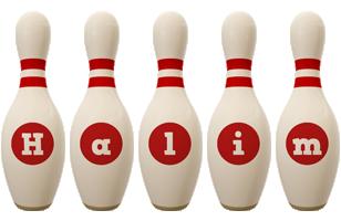 Halim bowling-pin logo