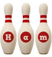 Ham bowling-pin logo
