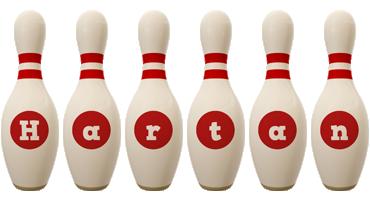 Hartan bowling-pin logo