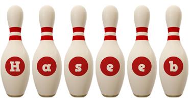 Haseeb bowling-pin logo