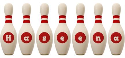 Haseena bowling-pin logo