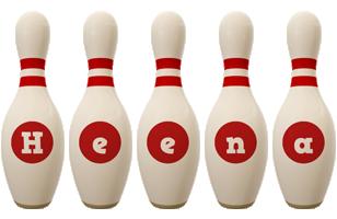 Heena bowling-pin logo