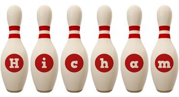 Hicham bowling-pin logo
