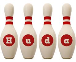 Huda bowling-pin logo