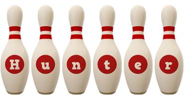 Hunter bowling-pin logo