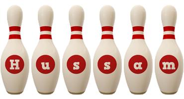 Hussam bowling-pin logo