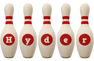 Hyder bowling-pin logo