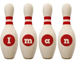 Iman bowling-pin logo