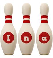 Ina bowling-pin logo