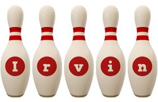 Irvin bowling-pin logo
