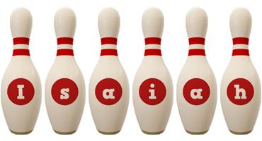 Isaiah bowling-pin logo