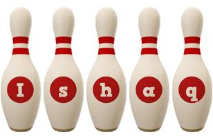 Ishaq bowling-pin logo