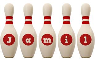 Jamil bowling-pin logo