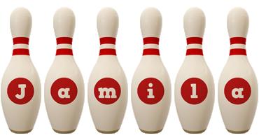 Jamila bowling-pin logo