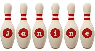 Janine bowling-pin logo