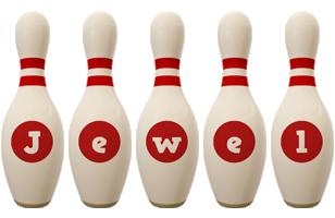 Jewel bowling-pin logo