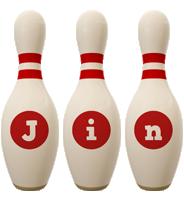 Jin bowling-pin logo
