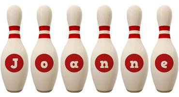 Joanne bowling-pin logo