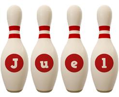 Juel bowling-pin logo