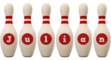 Julian bowling-pin logo
